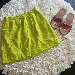 J.Crew Lime Green Crinkle City Mini Skirt